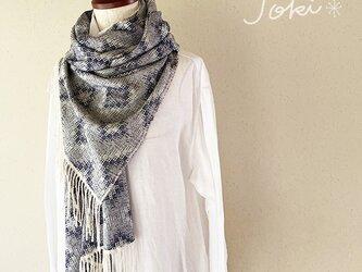 [手織りシルクショール] ネイビーの画像