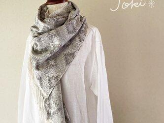 [手織りシルクショール] ライトグレーの画像