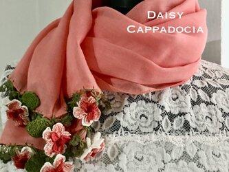 立体刺繍の花付き コットンストール サーモンピンク&マーガレットの画像