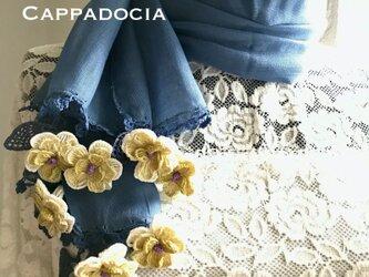 立体刺繍の花付き コットンストール デニムブルー&イエローの画像