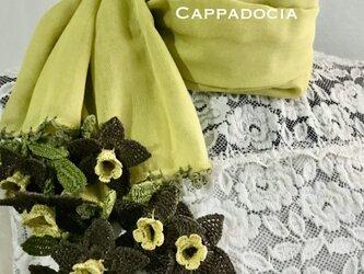 立体刺繍の花付き コットンストール マスタード&ブラウンの画像