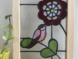 花と小鳥のパネルの画像