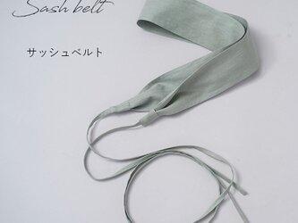 【サッシュ/青磁鼠(せいじねず)】リネン100% サッシュベルト ウエストブラウジング アクセント/z022a-snz1の画像