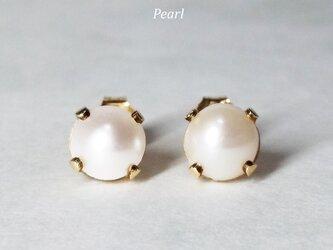 【6月誕生石】純白の2粒。天然パールのピアス [送料無料]の画像
