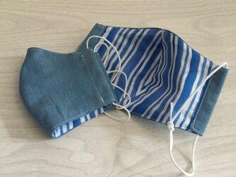 コットンとガーゼのマスク2枚セット(ライトブルー)の画像