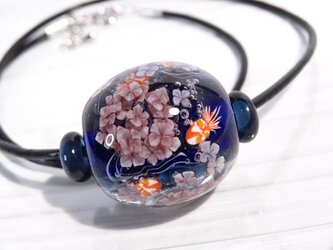 紫陽花と金魚のとんぼ玉(ガラス玉)の画像