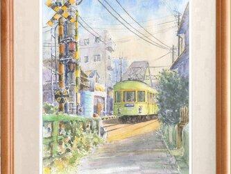 水彩画原画 江ノ電・江ノ島駅踏切 #421の画像