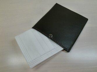 ちょっと贅沢に♪本革製・一枚革の不織布マスクケース・飾りステッチタイプ・0102の画像