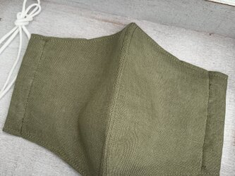◆男性用マスク・リネン・立体マスク☆麻&ダブルガーゼ・グリーン無地の画像