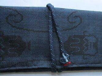 4883 夏大島紬で作った和風財布・ポーチ #送料無料の画像