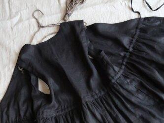 受注・ブラックリネン♡きれいめノースリーブカシュクールワンピース♡着回し力◎ジャンパースカートの画像