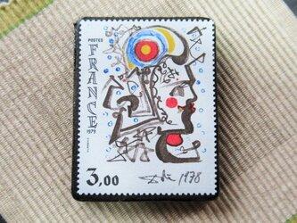 フランス 美術切手ブローチ6201の画像