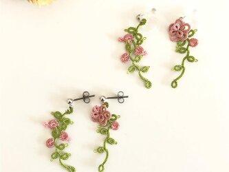 ツル植物のイヤリング・ピアス 撫子色の画像