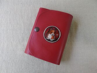 レザーマスクケース マスクポーチ コーギーワッペンの画像