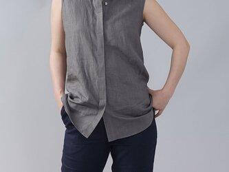 【wafu】やや薄地 リネン ちび襟 ノースリーブ 比翼シャツ リネンタンクトップ/鈍色(にびいろ) t018a-nib1の画像