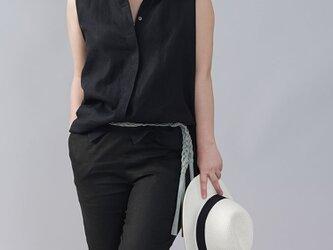 【wafu】やや薄地 リネン ちび襟 ノースリーブ 比翼シャツ リネンタンクトップ/ブラック t018a-bck1の画像