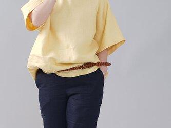 【wafu入門編】中厚地 リネンブラウス ビックTシャツ ゆったり Tシャツ ビッグT/ライムライト t016i-llt2の画像