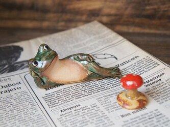 陶器【カエルとキノコ】の画像