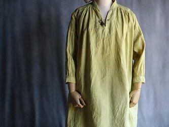 草木染ショルダーギャザーワンピ:黄色#2015の画像