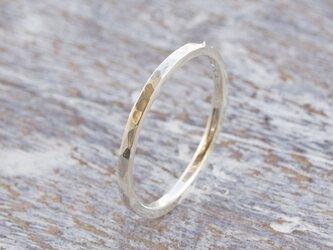 槌目 シルバーフラットリング 1.5mm幅 でこぼこ シルバー950 SILVER RING 指輪 シンプル 177の画像