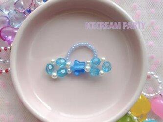 【ICECREAM PARTY】No.14 ビーズリボンリング(ブルー)の画像