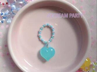 【ICECREAM PARTY】No.10 ハートチャームリング(ブルー)の画像