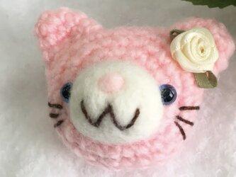 【momousagi】No.33 ねこのブローチ ピンクの画像