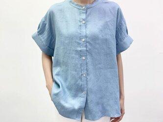 en-enシェフ風シャツ・太カフス付きギャザー袖シャツ・くすみ水色の画像