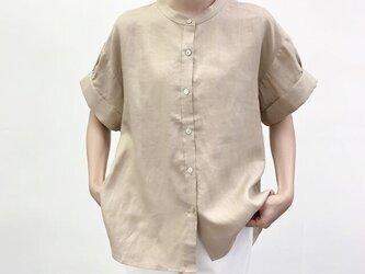 en-enシェフ風シャツ・太カフス付きギャザー袖シャツ・ベージュの画像
