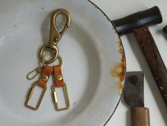 キーリング*ヨットナス真鍮製×イタリア革#brownの画像