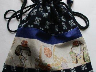 4884 絣で作った巾着袋 #送料無料の画像