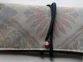 4886 色大島紬で作った和風財布・ポーチ #送料無料の画像