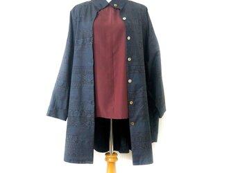 【手織り大島紬】リメイクシャツチュニック  ビッグシルエットの画像