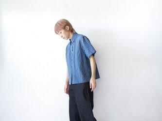 original cotton linen/ short sleeve shirt/blueの画像
