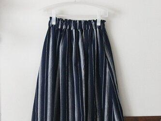 ランダムストライプのスカート コットンリネン(M)の画像