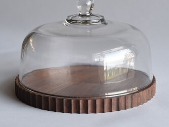 ウォールナットのトレーXXL+ガラスドームの画像