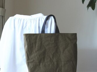 mチャコールグレー×カーキ 浜松産帆布使用トートL【受注製作】の画像