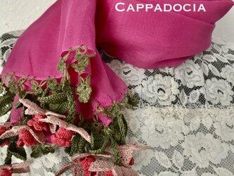 立体刺繍の花付き コットンストール パッションピンクの画像