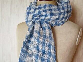 草木染め 藍染めリネン 手織りプチ大判ストール の画像