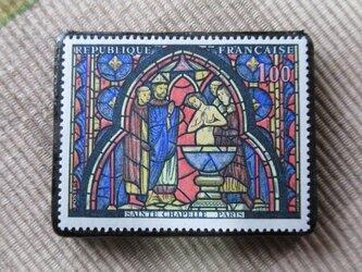 フランス 美術切手ブローチ6208の画像
