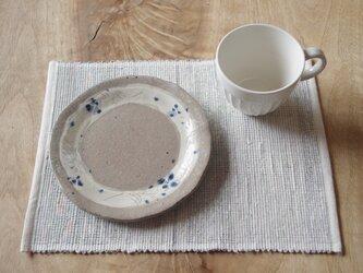 爽やかな白系 裂き織り木綿ランチョンマット(手織りです)の画像