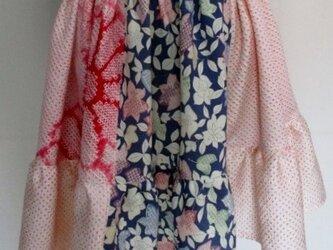 4888 絞りの振袖と花柄の着物で作ったミニスカート #送料無料の画像