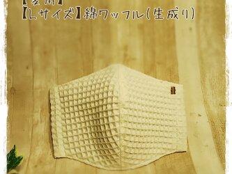 【夏用】(L)綿ワッフル(生成り×GY)*ワイヤ入立体マスクの画像