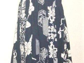 浴衣リメイク♪ブルー&ホワイト浴衣色々パッチワークチュニックワンピース裾変形♪ハンドメイド♪コットンの画像