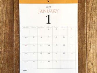 *2020年12月始まり 壁掛けカレンダー*【厚口上質紙/白色/A4/イエローテープ/切取式】の画像