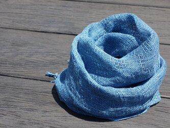 手織りリネンストール・・ブルーの画像
