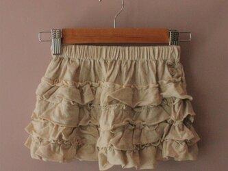【こどもふく】asana ベアトップにもなるフリルミニスカート●きなりの画像