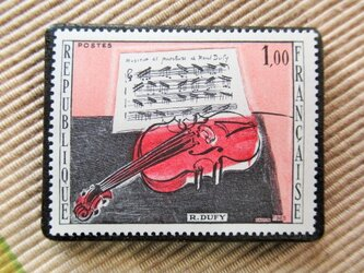 フランス 美術切手ブローチ6212の画像