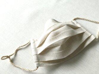リネン★薄茶2★プリーツマスク(ノーズワイヤーポケット、フィルターポケット付き) 大人Mサイズの画像
