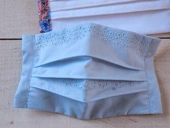 薄型 プリーツマスク総レース ラムネミント★生地は晒1枚+コットン1枚=2枚重ねの画像